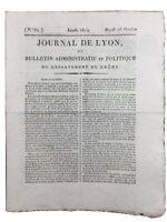 Royaliste à Lyon 1814 Bourbon Comte d'Albon Collège de Mornant Rhône Bondy