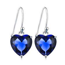 925 Sterling Silver Crystal Titanic Heart of the Ocean Drop Dangle Hook Earrings