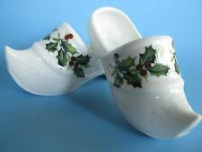 """2 Limoges Holland/Dutch-White Miniature Shoes 4 1/4"""" Long Christmas Holly-France"""
