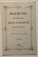 Orig. Prospekt Mineral bad Gruben 1883 Sachsen Ortskunde Geografie Geographie sf