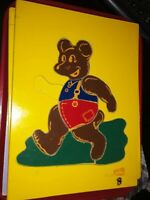 RARE! ~ Vintage Bear Wooden Puzzle ~ Very Old Kindergarten Puzzle