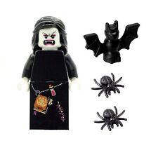 LEGO Minifig Female Vampire Glow in Dark Head & 2 Spiders & Bat NEW Halloween