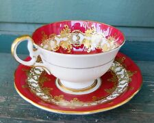 Vintage Cabinet Aynsley Maroon with Heavy Gold Gilding Tea Cup Saucer