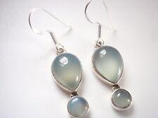 Chalcedony Teardrop Sterling Silver Dangle Earrings Corona Sun Jewelry