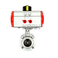 2'' Sanitary Pneumatic Butterfly Valve Tri Clamp Welded Quick Install SS304
