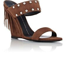 GIUSEPPE ZANOTTI Double-band Fringe Brown Suede Studded Wedge Sandals size 39.5