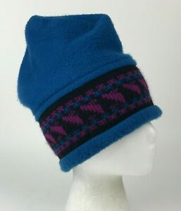 Vtg THE MEWS Blue FLEECE Purple/Black KNIT Winter HAT Cap ADULT Usa NH Made OSFM