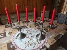 2 Bougeoirs en étain 3 branches + 10 bougies gratuites comme neuf