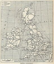 A4886 Inghilterra - Comunicazioni - Carta geografica antica del 1953 - Old map
