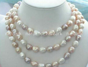 Beauty 8-9mm natural baroque white pink purple freshwater pearl necklace 36-48''