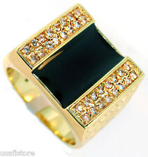 Black Center with Side Crystal Stones Gold Ep Mens Ring Size 11