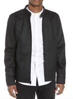 TUNELLUS Mens Black Moto Collar Zip Front Jacket L.     0610