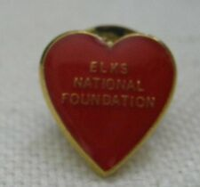 13mm Yellow Gold Plate w/ Red Enamel ELKS NATIONAL FOUNDATION Lapel Pin LQQK!
