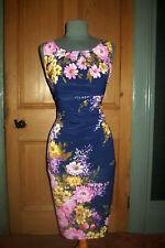 """Vestido de noche Preciosa PHASE ocho """"Margarita Vintage"""" Azul/Floral, tamaño 12"""