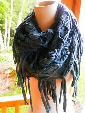 OPEN WEAVE FRINGED GREAT TEAL COLOR KNIT CIRCLE SCARF...