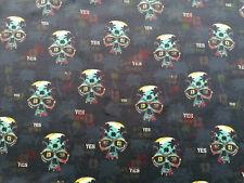 Jersey Totenkopf 10 X 160 cm Planen Yes Schädel Brille Skull Hashtaq Gebiss