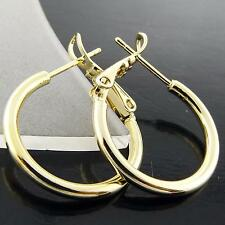 EARRINGS STUD HOOPS GENUINE REAL 18K YELLOW G/F GOLD CLASSIC SLEEPER DESIGN