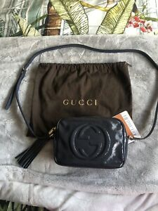 💙GUCCI Soho Disco Bag. Blue Patent Leather. Authentic.
