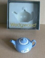 Wedgwood Jasperware Blue Miniature Tea Pot Boxed