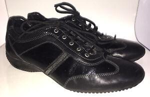 Geox Respira Ladies Sneakers Black Patent Comfort Shoes Size 41