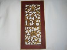 ANTIQUE CHINESE HAND CARVED WOOD PANEL RED & GOLD 2 FIGURES & FLOWERS 19.5x9.5""