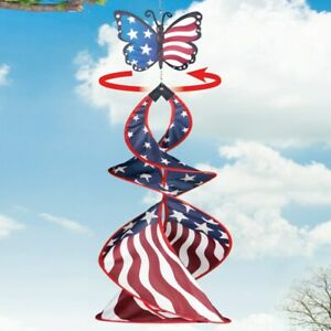 3 Foot Butterfly Patriotic 4th of July Porch Patio Hanging Garden Wind Spinner