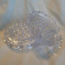 3' Inch CLEAR Acrylic Tough Tobacco Herb Spice 2 Piece Grinder SAME DAY SHIPPING