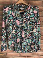 LOFT Women's Floral Long Sleeve Pink Shirt/Blouse Flowy Print Size Medium