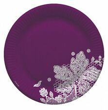 "8 VIOLET PAPER PLATES 9"" PARTY TABLEWARE WEDDING PURPLE BIRTHDAY DISPLAY GIFT"