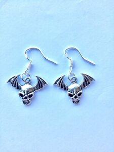 Gothic Skull Demon Earrings Sterling Silver Hooks & S/Plated Charm Biker