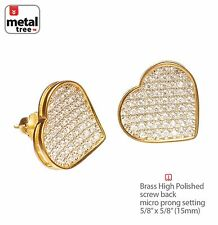 Pave Lab Diamond Screw Back Earrings 939G Fashion Heart 14K Gold Plated Xl Micro
