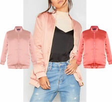 Hip Length Satin Bomber Coats & Jackets for Women