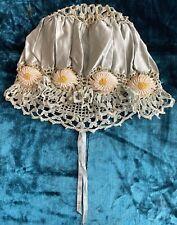 Antique Victorian/Edwardian Blue lSatin Crochet Bouduoir Dust/Night Cap Bonnet