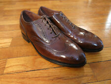 NOS Made USA Stafford Comfort Plus Men's 9 D Brown Leather Wingtips Shoes Oxford
