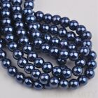 50pcs 8mm Pearl Round Glass Loose Spacer Beads Jewelry Making Purplish Blue