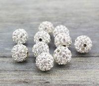 Wholesale 200 Pcs Cz Crystal Shamballa Beads Pave Disco Balls White Color 10MM
