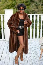 New Designer Couture demi Swing Female Full length Mink fur Coat Jacket M-L 8-14
