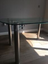 Extendable Glass Round Dining Table with Chrome Frame and Silver Legs