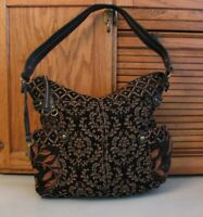 Fossil Brown Print PURSE w Key Vintage Style Handbag Over Shoulder Bag Satchel