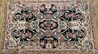 "58 x 35"" Needlepoint handmade rug Vintage Aubusson black gold floral Ada West"