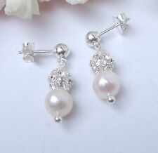 DESIGNER FRESHWATER PEARL DROP BRIDAL EARRINGS STERLING SILVER DIAMANTE HANDMADE