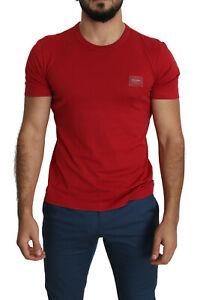 DOLCE & GABBANA T-shirt Red Logo Plaque Round Neck Cotton Tee Crew IT48/US38/M
