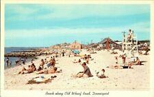 1950'S. BATHING BEACH. DENNISPORT, MASS. POSTCARD. SZ4
