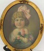 Oval Framed Vintage Lithograph Print of Young Girl w/Flowers Dwarfism Child