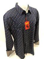Mens RODEO WESTERN DIAMOND NAVY Long Sleeve Woven SNAP UP Shirt Cowboy 109 3XL