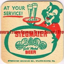 """1954 Stegmaier Beer Chipmonks """"At Your Service"""" 3-inch Coaster Tavern Trove"""