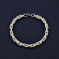 8.27 inches (21 cm) 5mm thick Stainless Steel with Gold Byzantine Bracelet