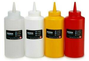 2 Piece Plastic Condiment Squeeze Bottle Corona Professional 420ml 950ml UK