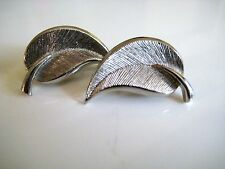 Vintage Silver Leaf Earrings Clip On Textured Silver Tone Metal No Stone