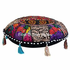 """Indian 18"""" Embroidered Beaded Patchwork Round FLOOR CUSHION COVER POUF Footstool"""